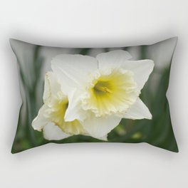 White and yellow daffodils, early spring flowers Rectangular Pillow