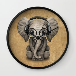 Cute Baby Elephant Dj Wearing Headphones and Glasses Wall Clock