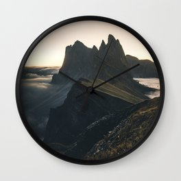 amazing Sunrise at Seceda in the Dolomites Wall Clock