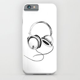 Headphones. Sketch style, black and white print. iPhone Case