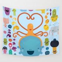 best friends Wall Tapestries featuring Best Friends by Piktorama