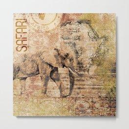 Elephant Africa Collage Metal Print