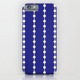 Geometric Droplets Pattern Linked White on Navy Blue iPhone Case