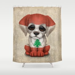 Cute Puppy Dog with flag of Lebanon Shower Curtain