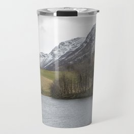 Snowy tops in Norway Travel Mug