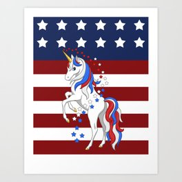 American Flag Stars and Stripes Unicorn Art Print