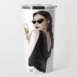 girl cheering with champagne wearing trendy hair pins Travel Mug
