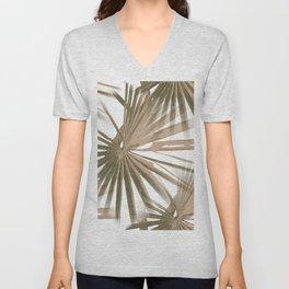 Brown on White Tropical Vibes Beach Palmtree Vector Unisex V-Neck