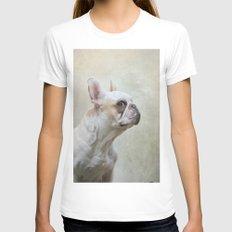 French bulldog  Womens Fitted Tee MEDIUM White
