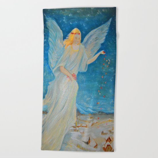 Bless me | Guardian Angels are Here | Angel of Abundance | Love Beach Towel