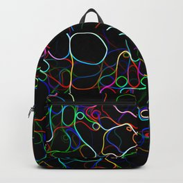 Neon Multicolor Curvy Lines Backpack