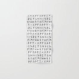 Futhark full runic print (Viking runes) white version Hand & Bath Towel