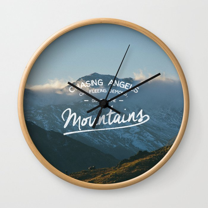 Go To The Mountains Wall Clock