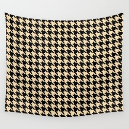 Black and Tan Classic houndstooth pattern Wall Tapestry