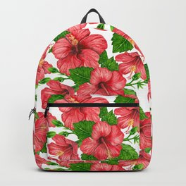 Red hibiscus watercolor pattern Backpack