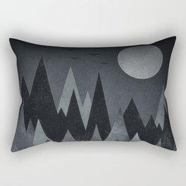 Dark Mystery Abstract Geometric Triangle Peak Wood's (black & white) Rectangular Pillow