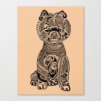 pomeranian Canvas Prints featuring Polynesian Pomeranian by Huebucket