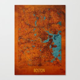 Boston 1893 old map, blue and orange artwork, cartography Canvas Print