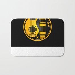 Yellow and Black Acoustic Electric Yin Yang Guitars Bath Mat