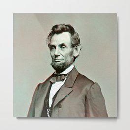 President Lincoln 3D Anaglyph Metal Print