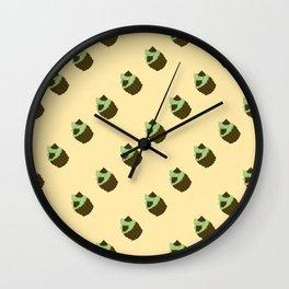Dark Chocolate Pixel Cupcake Pattern Wall Clock