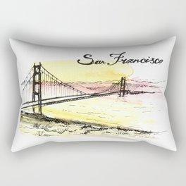 San Francisco. Watercolor and ink. Rectangular Pillow