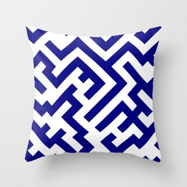 White and Navy Blue Diagonal Labyrinth Throw Pillow