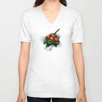 ninja turtle V-neck T-shirts featuring Baby Ninja Turtle - PixelArt by Tokka Train