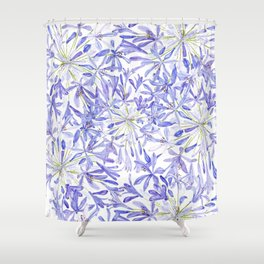 blue purple African lily watercolor painting Shower Curtain