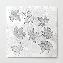 Autumn Leaves Black and White Metal Print