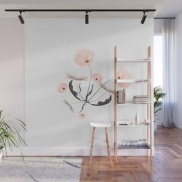 Sweet dandelions in pink - Floral Watercolor illustration with Glitter Wall Mural