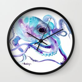 Octopus, Turquoise Blue purple art Wall Clock