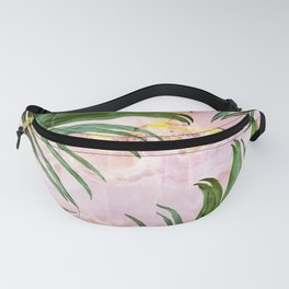 Palm leaf on marble 01 Fanny Pack