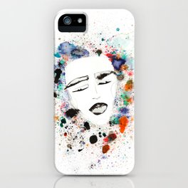 Sleepy Face in Spatter Pillow iPhone Case