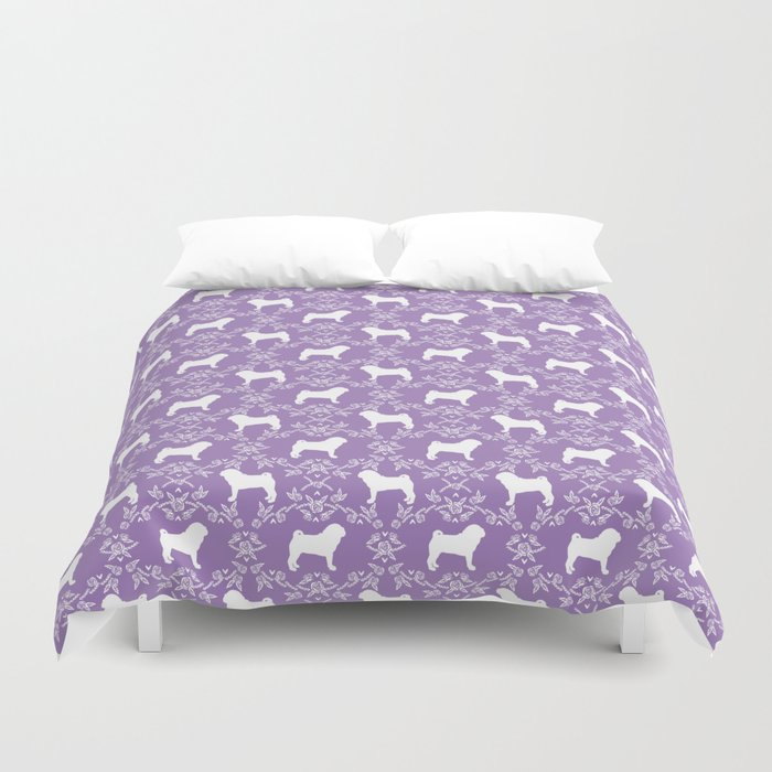 Pug silhouette florals purple pattern for pug dog lover pet pattern gifts Duvet Cover