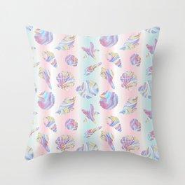 Pastel Rainbow Mermaid Seashells Throw Pillow