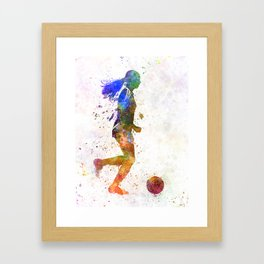 Girl playing soccer football player silhouette Framed Art Print