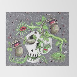 skull pot with carnivorous plants Throw Blanket