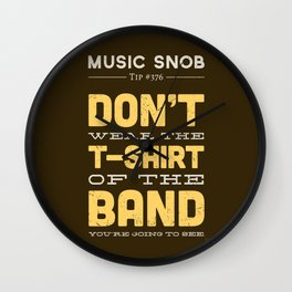 The OTHER Shirt of the Band — Music Snob Tip #376.5 Wall Clock