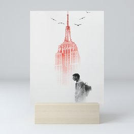 Waiting down the red tower Mini Art Print