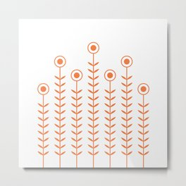 Minimalist Flowers (Celosia Orange) Metal Print