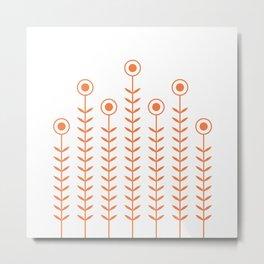 Minimalist Flowers (Celosia Orange) Metal Print