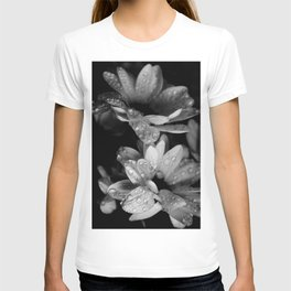 Flower and drops. Black and white. T-shirt