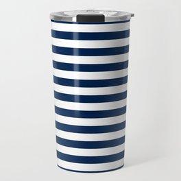 Slate blue and White Thin Stripes - Navy Nautical Pattern Travel Mug