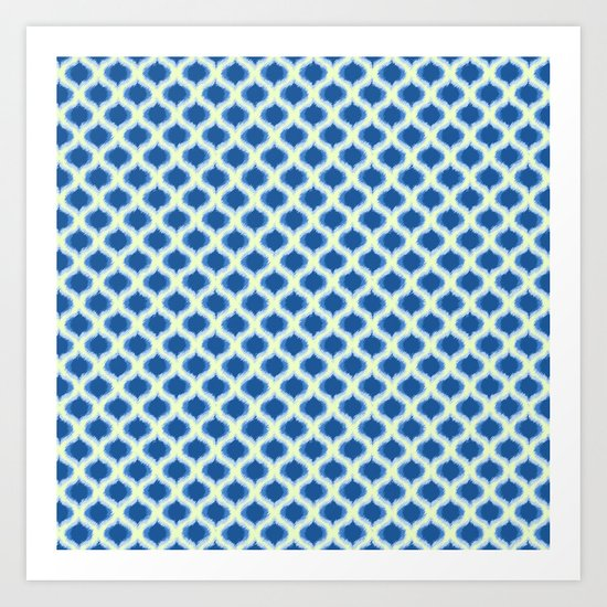Blue Yellow Green Ikat Ogee Pattern Art Print
