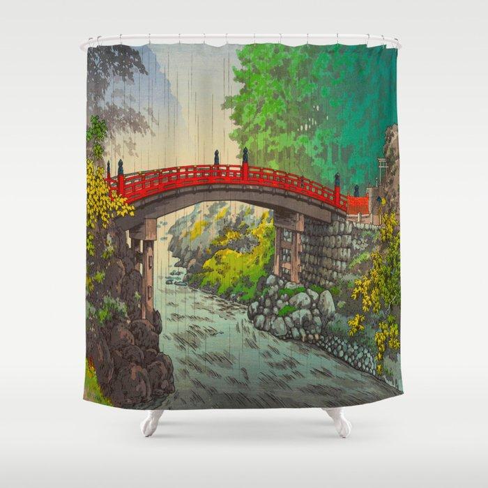 Vintage Japanese Woodblock Print Garden Red Bridge River Rapids Beautiful Green Forest Landscape Shower Curtain