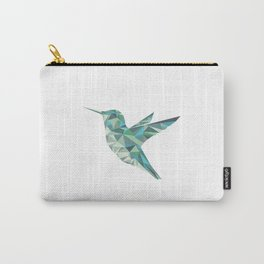 Geometric Hummingbird Teal Carry-All Pouch