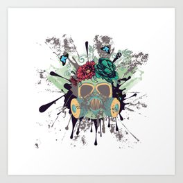 Green Gas Mask with Roses Art Print