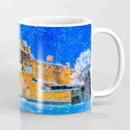 Edinburgh Castle In The Snow On A Winter Night Coffee Mug