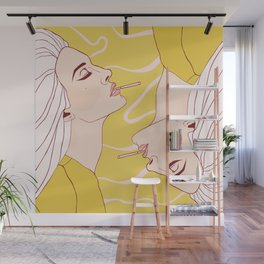 Pastel Yellow Smoking Elizabeth Wall Mural